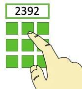 Wprowadzanie kodu 2392 palcem na klawiaturze